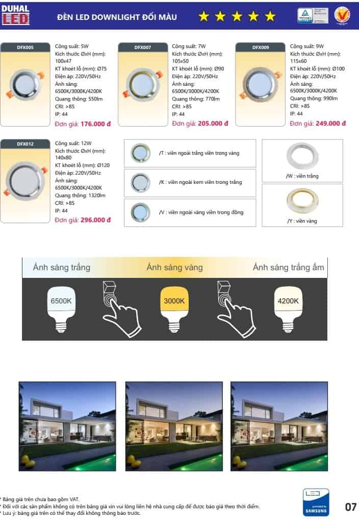 bang gia den led downlight doi mau