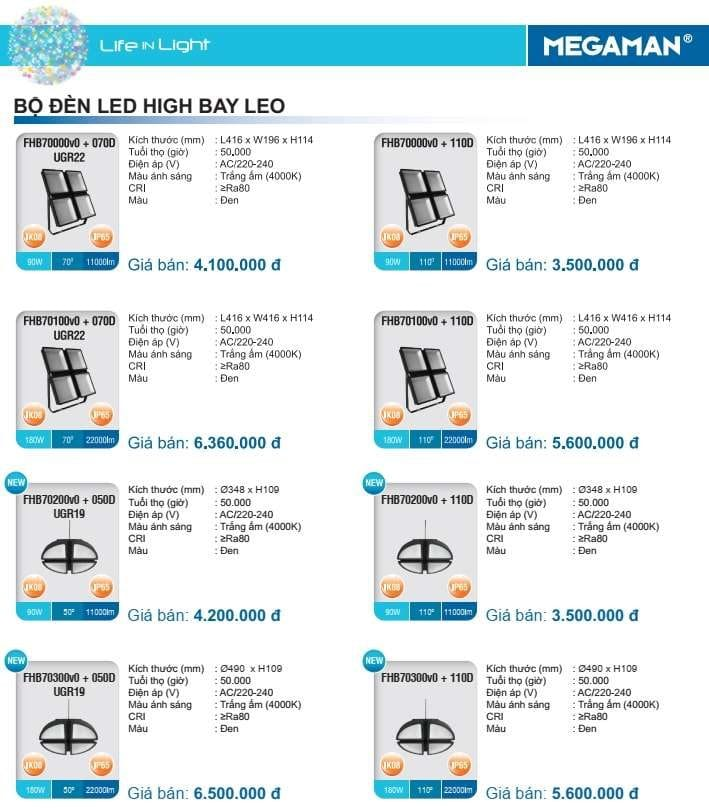 Bang Gia Den Led Highbay