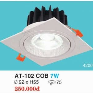 Den Downlight Am Tran Hop Kim Nhom Cao Cap At 102 Cob 7w Hufa