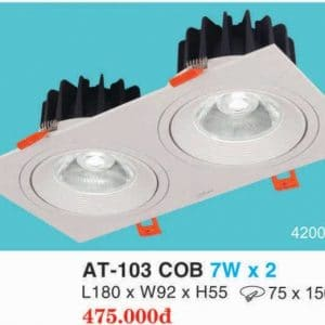 Den Downlight Am Tran Hop Kim Nhom Cao Cap At 103 Cob 7w X 2 Hufa
