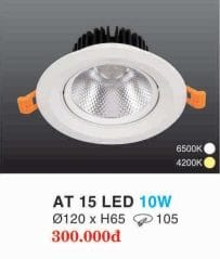 Den Led Downlight Hop Kim Nhom Cao Cap At 15 Led 10w Hufa