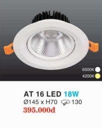 Den Led Downlight Hop Kim Nhom Cao Cap At 16 Led 18w Hufa