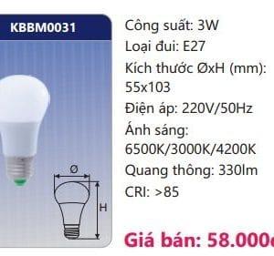 Den Led Bulb Doi Mau Kbbm0031