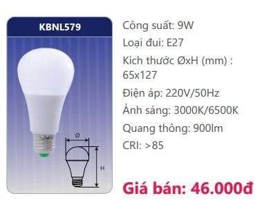 Den Led Bulb Kbnl579 9w