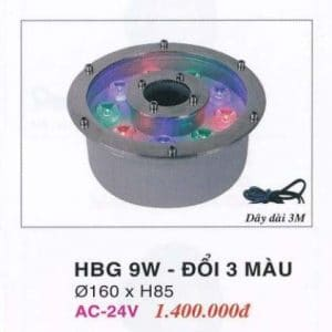Den Pha Led Duoi Nuoc Hbg 9w Doi 3 Mau