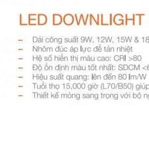 Led Downlight Sieu Mong Tron 15w