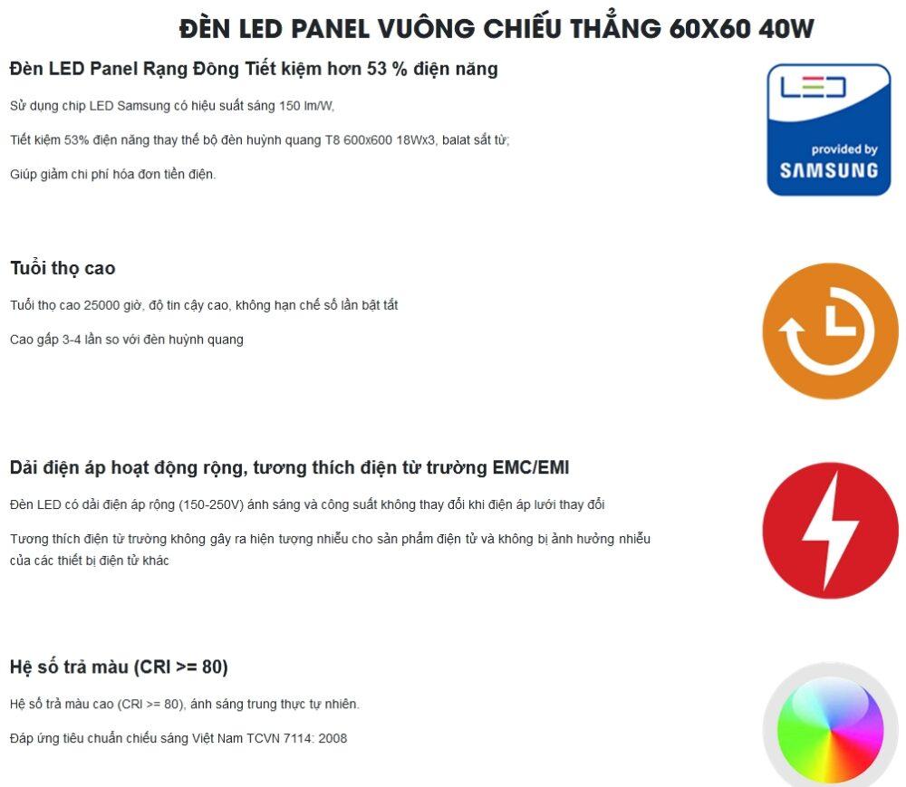 Uu Diem Cua Den Led Panel 600x600 Rang Dong 40w D P06 60x60 40w