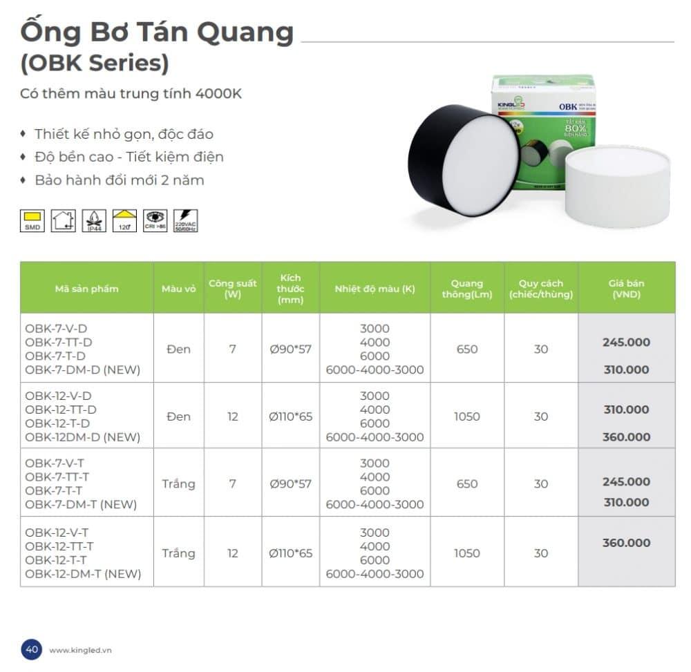 Bang Gia Den Led Ong Bo Chiu Roi Tan Quang Kingled