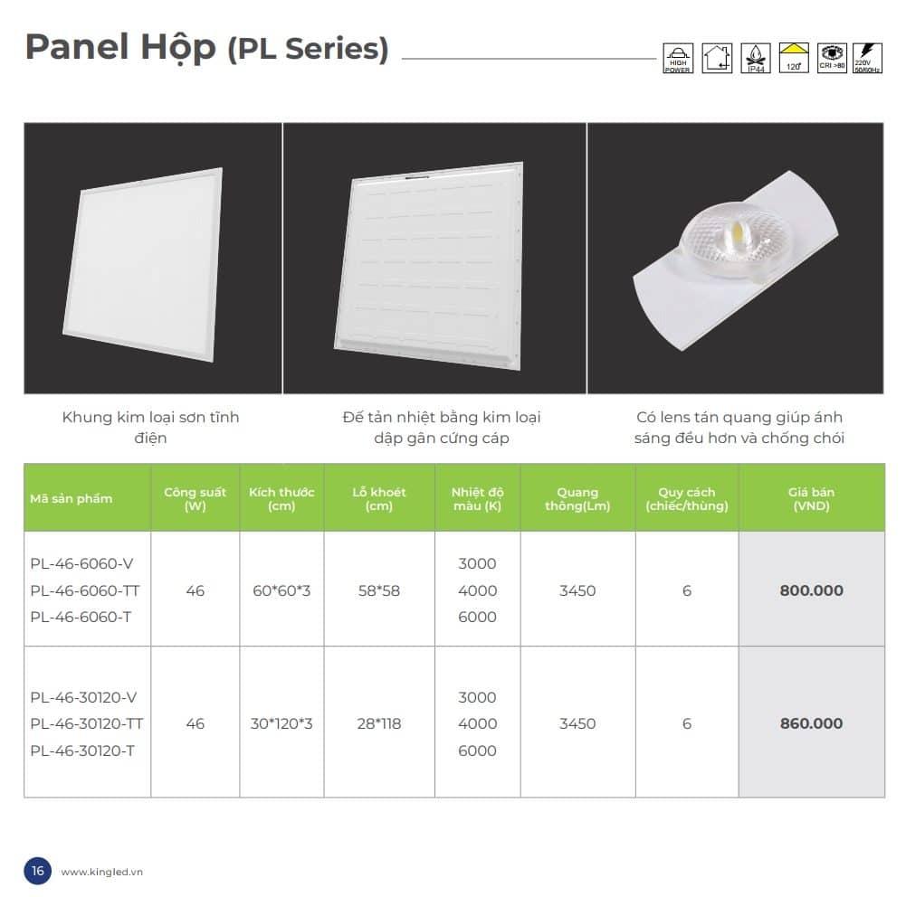 Bang Gia Den Panel Hop 600x600, 300x1200 Kingled