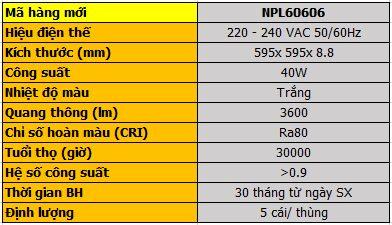 Đèn led panel ofice 40W-220V NPL60603 NPL60604 NPL60606 Nanoco