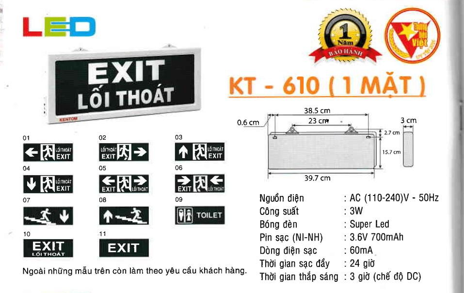 Den Exit Kentom Kt 610 1 Mặt