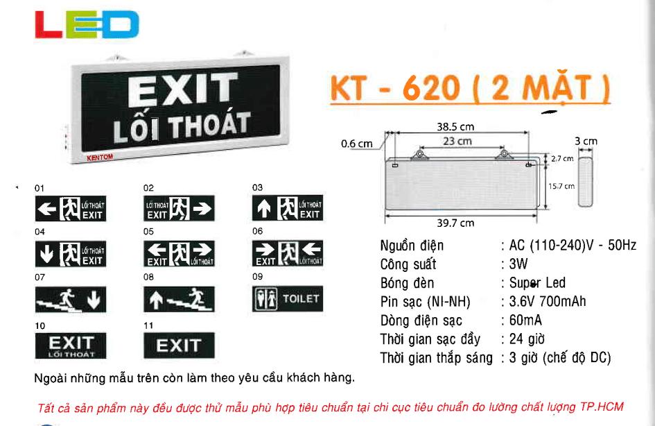 Den Exit Kentom Kt 620 2 Mặt