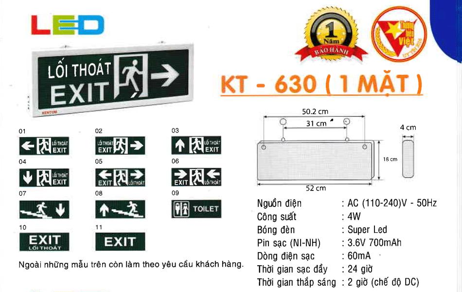 Den Exit Kentom Kt 630 1 Mặt