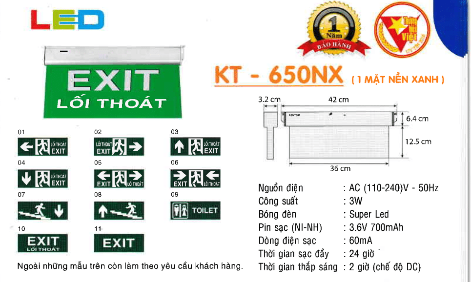 Den Exit Kentom Kt 650nx 1 Mặt Nền Xanh