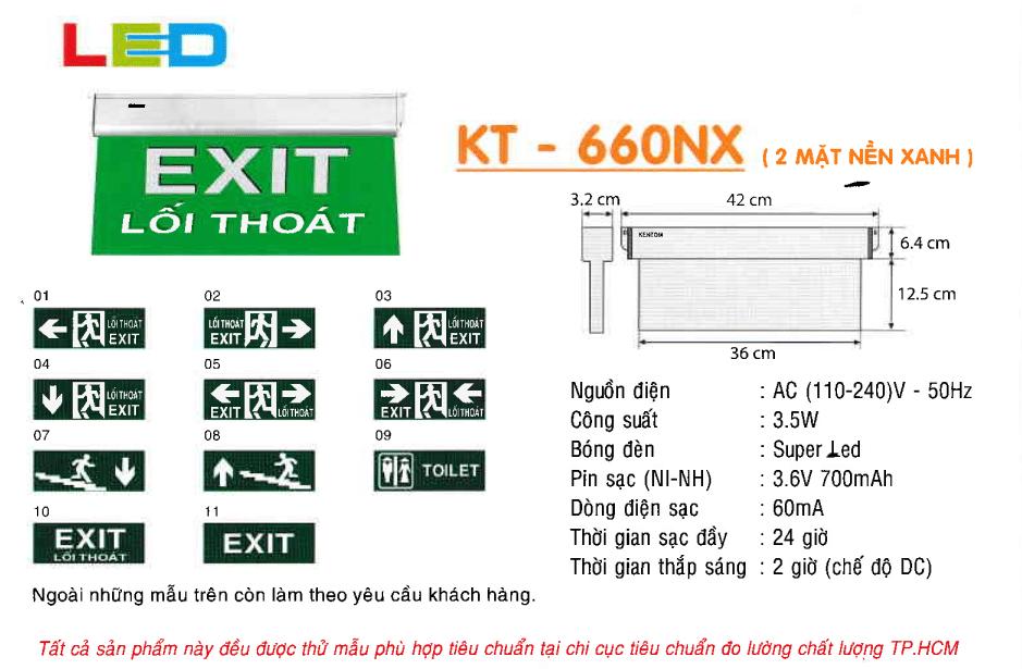 Den Exit Kentom Kt 660nx 2 Mặt Nền Xanh