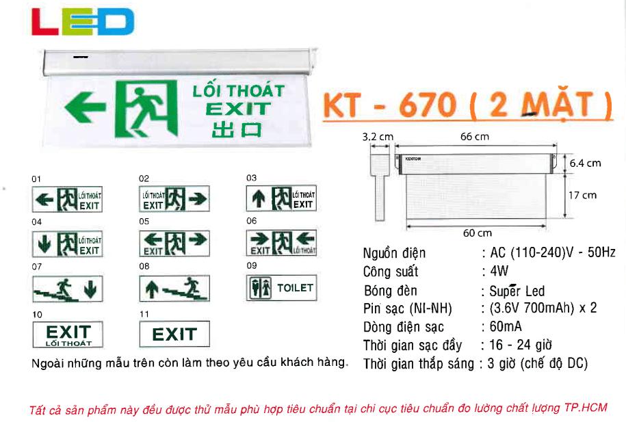 Den Exit Kentom Kt 670 2 Mặt