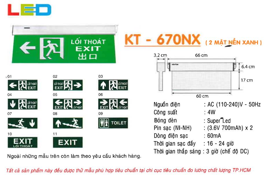Den Exit Kentom Kt 670nx 2 Mặt Nền Xanh