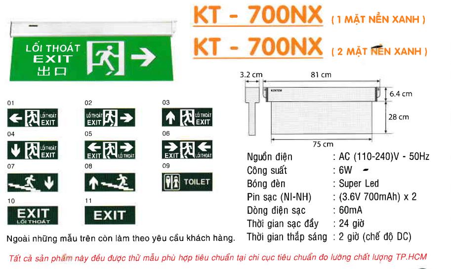 Den Exit Kentom Kt 700nx 1 Mặt Và 2 Mặt Nền Xanh